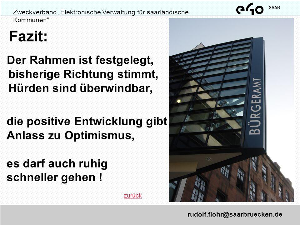 """SAAR Zweckverband """"Elektronische Verwaltung für saarländische Kommunen Fazit:"""