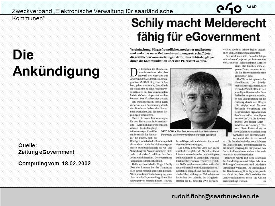 Quelle: Zeitung eGovernment Computing vom 18.02. 2002