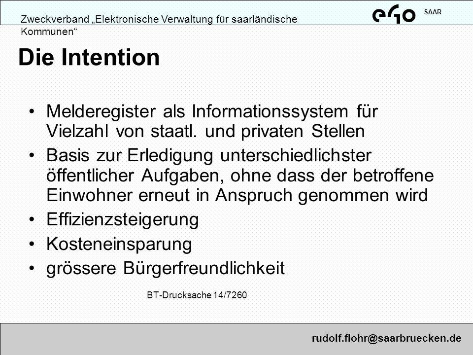 """SAARZweckverband """"Elektronische Verwaltung für saarländische Kommunen Die Intention."""