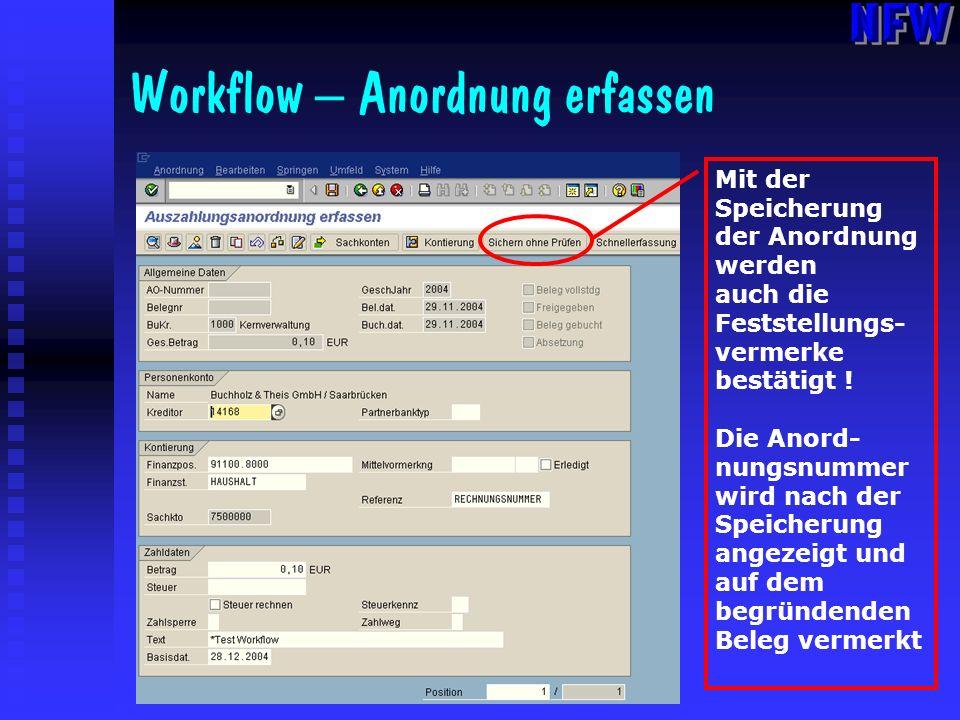 Workflow – Anordnung erfassen