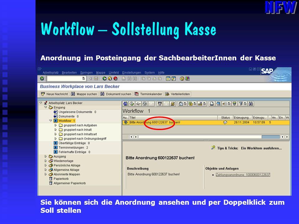 Workflow – Sollstellung Kasse