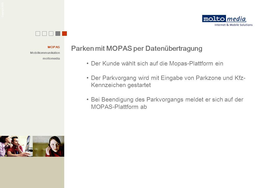 Parken mit MOPAS per Datenübertragung