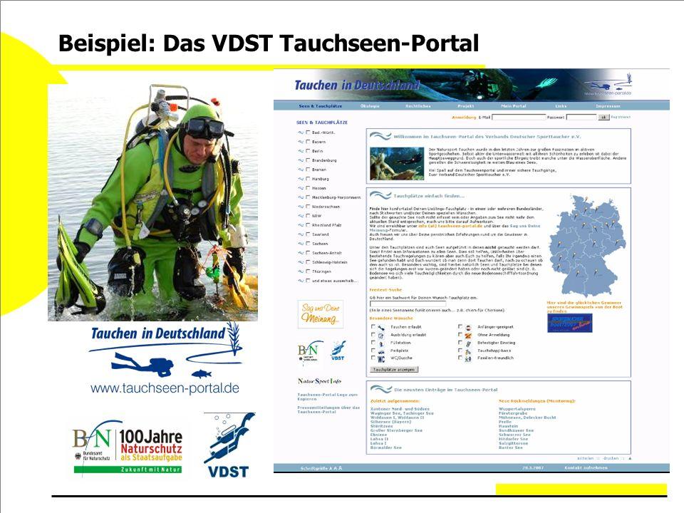Beispiel: Das VDST Tauchseen-Portal