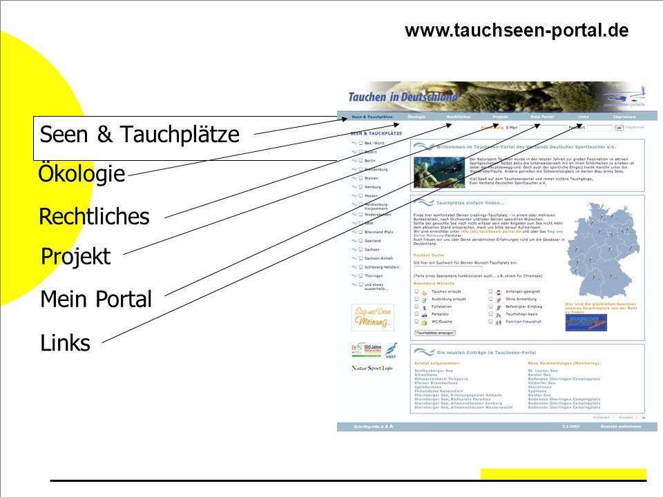 Seen & Tauchplätze Ökologie Rechtliches Projekt Mein Portal Links
