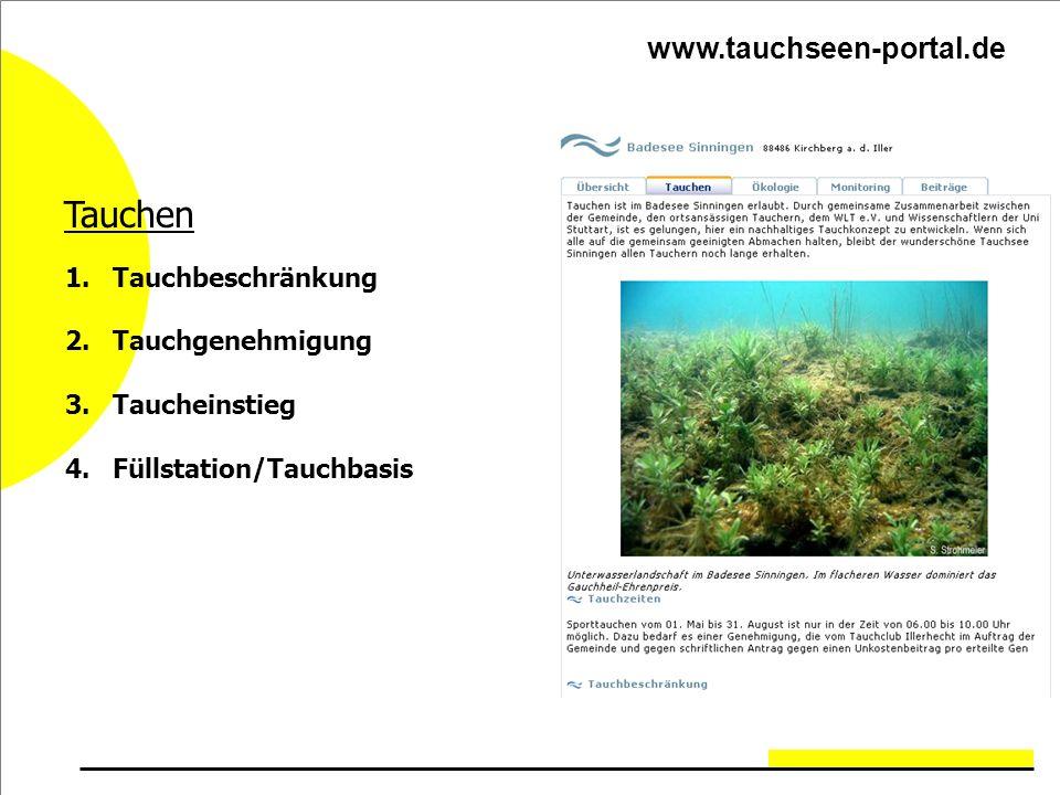 Tauchen www.tauchseen-portal.de Tauchbeschränkung Tauchgenehmigung