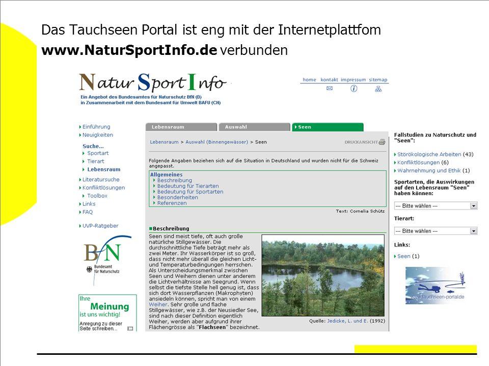 Das Tauchseen Portal ist eng mit der Internetplattfom