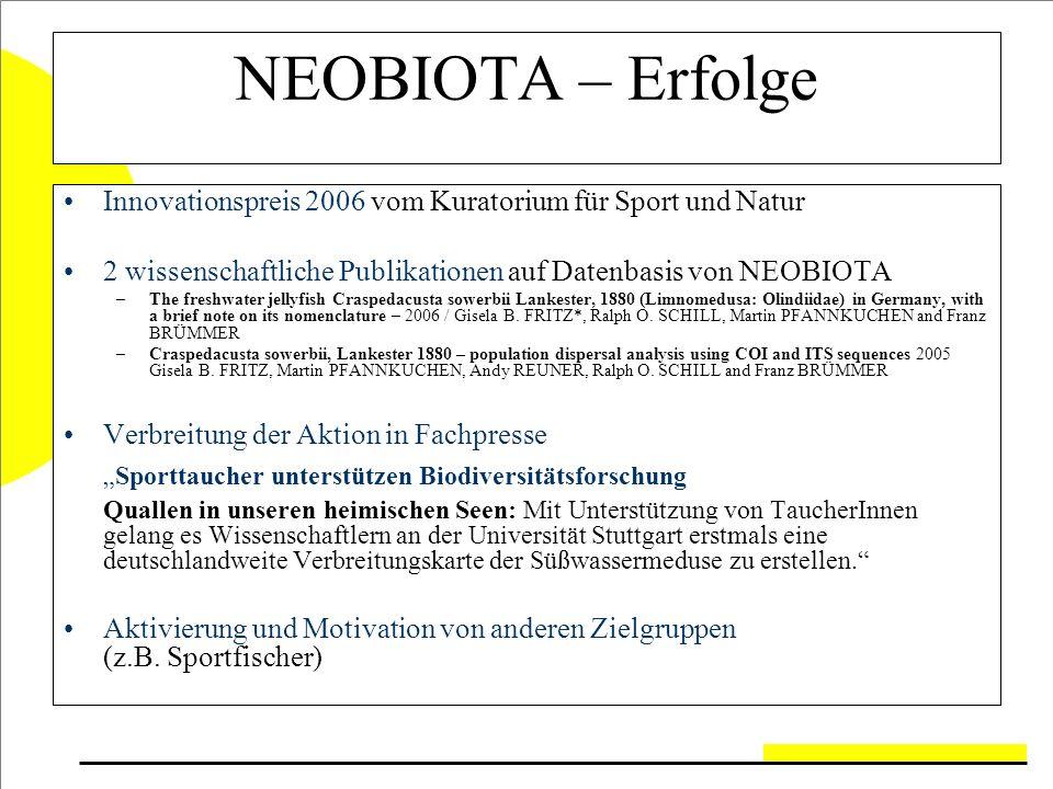 """NEOBIOTA – Erfolge """"Sporttaucher unterstützen Biodiversitätsforschung"""