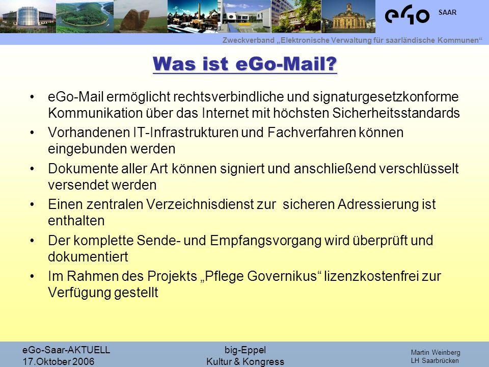Was ist eGo-Mail eGo-Mail ermöglicht rechtsverbindliche und signaturgesetzkonforme Kommunikation über das Internet mit höchsten Sicherheitsstandards.