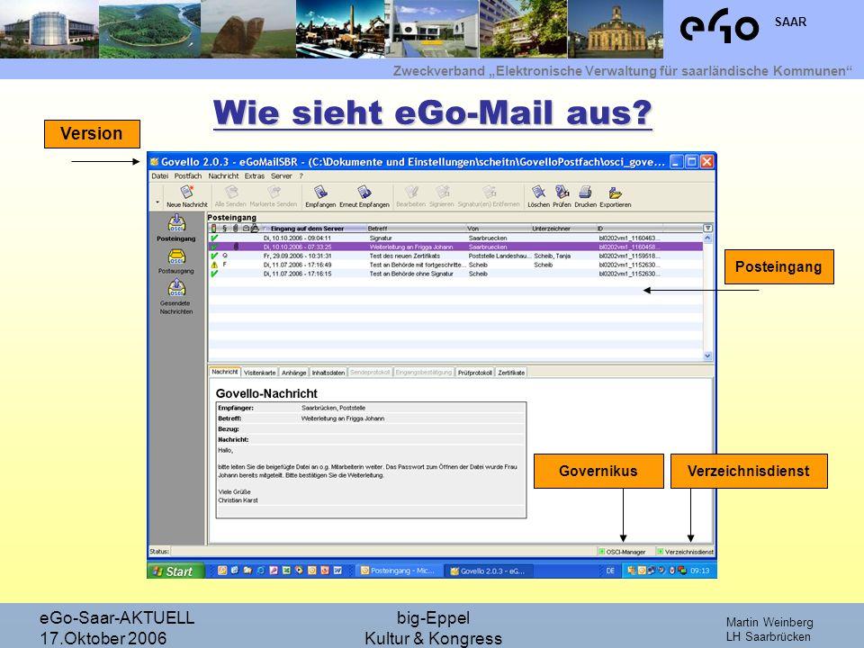 Wie sieht eGo-Mail aus Version eGo-Saar-AKTUELL 17.Oktober 2006