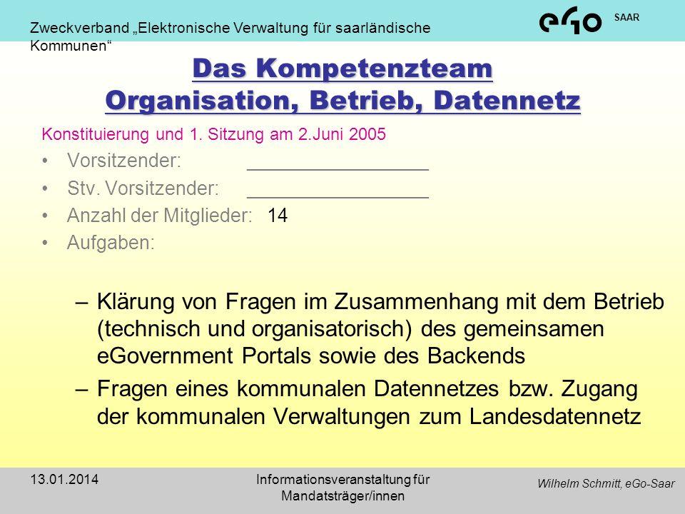 Das Kompetenzteam Organisation, Betrieb, Datennetz