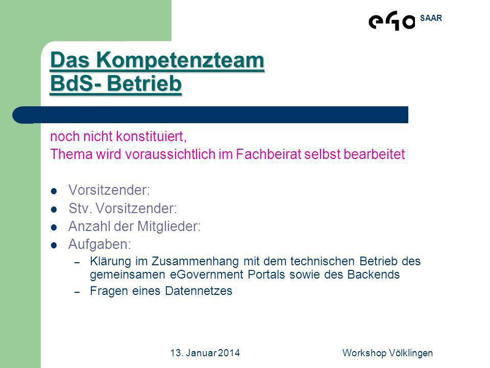 Das Kompetenzteam BdS- Betrieb