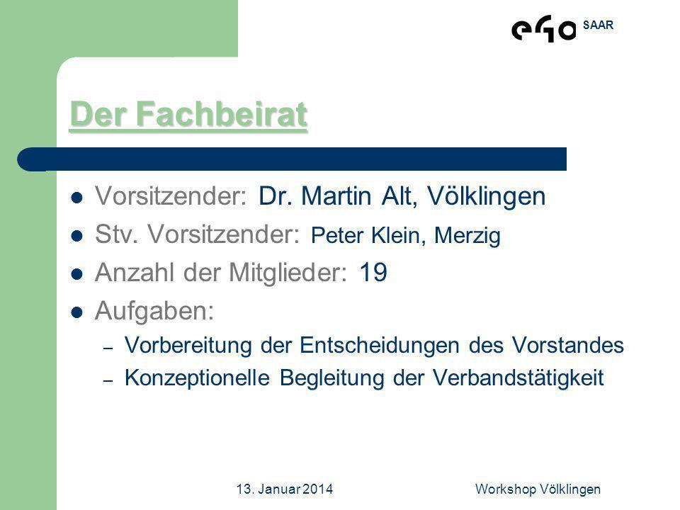 Der Fachbeirat Vorsitzender: Dr. Martin Alt, Völklingen