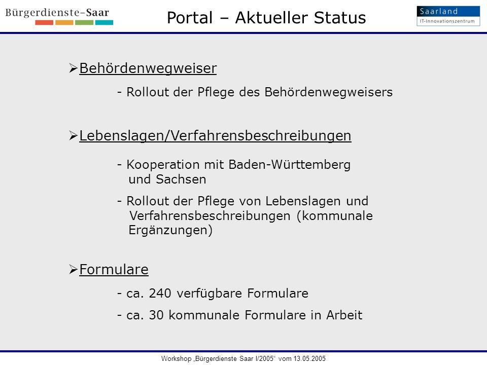 Portal – Aktueller Status
