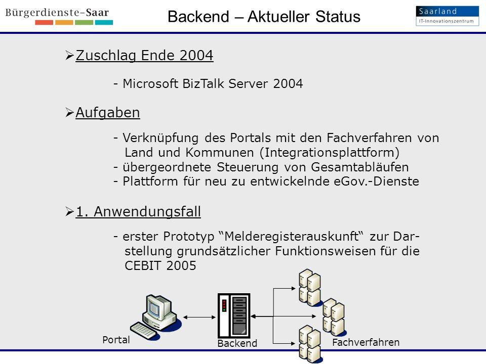 Backend – Aktueller Status