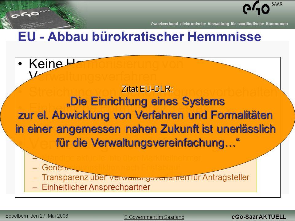 EU - Abbau bürokratischer Hemmnisse