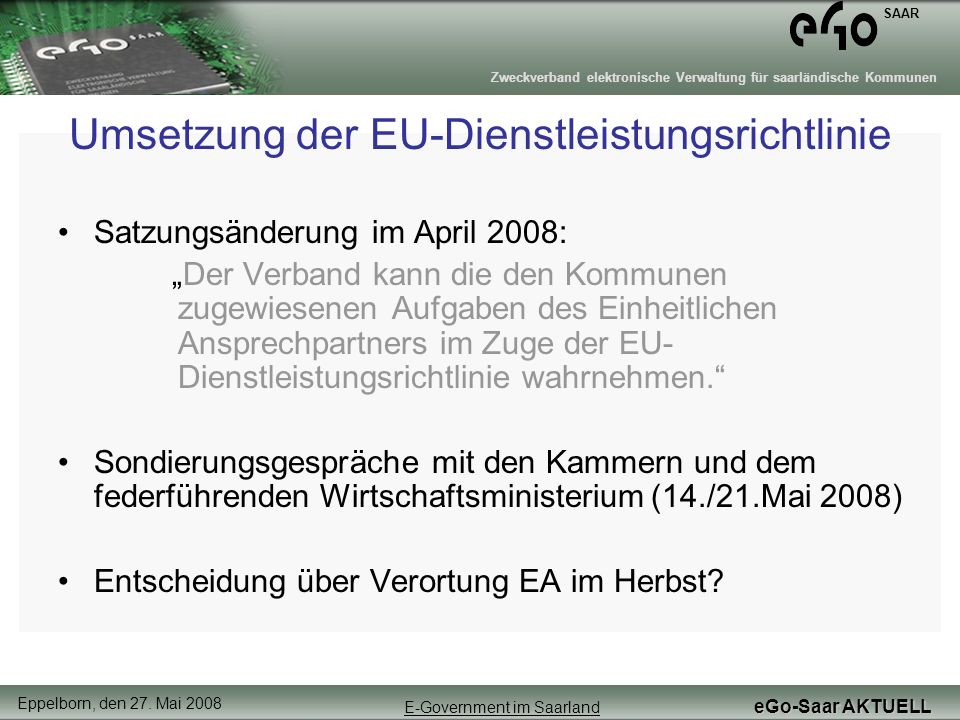 Umsetzung der EU-Dienstleistungsrichtlinie