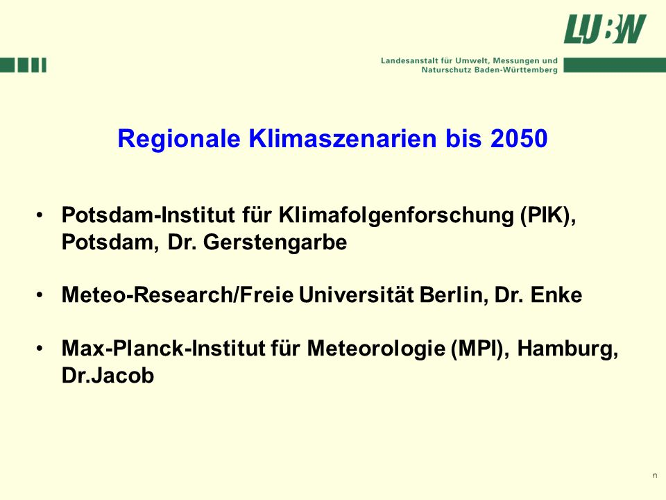 Regionale Klimaszenarien bis 2050