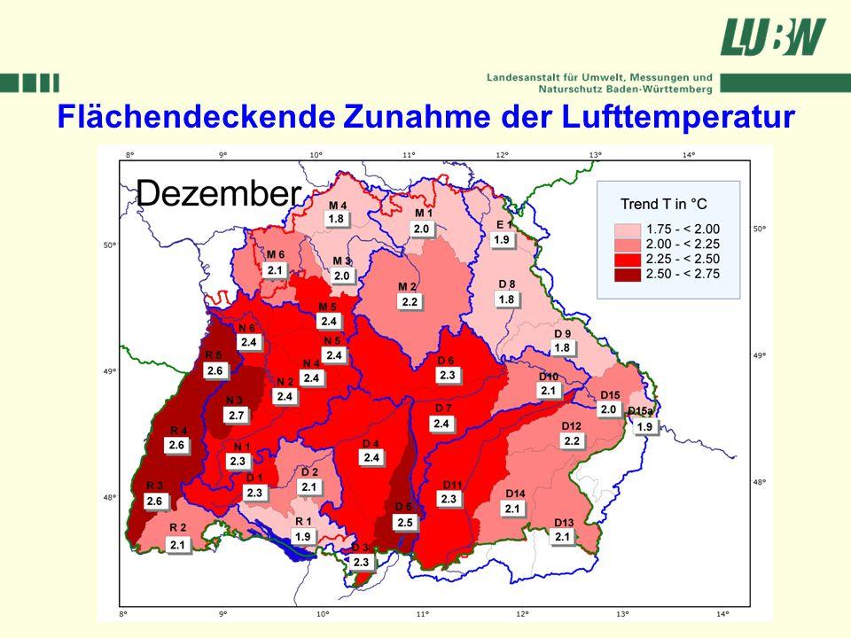 Flächendeckende Zunahme der Lufttemperatur