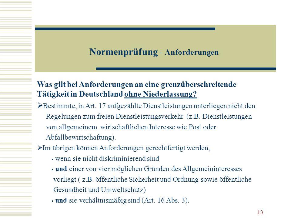 Normenprüfung - Anforderungen