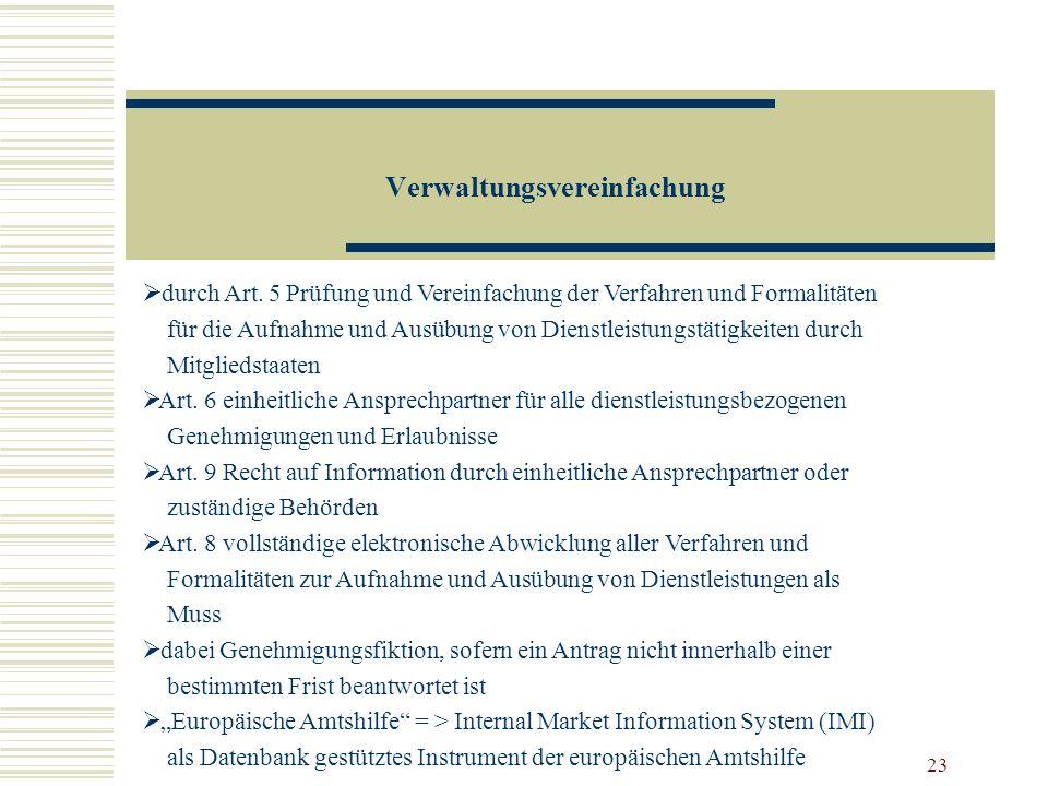 Verwaltungsvereinfachung