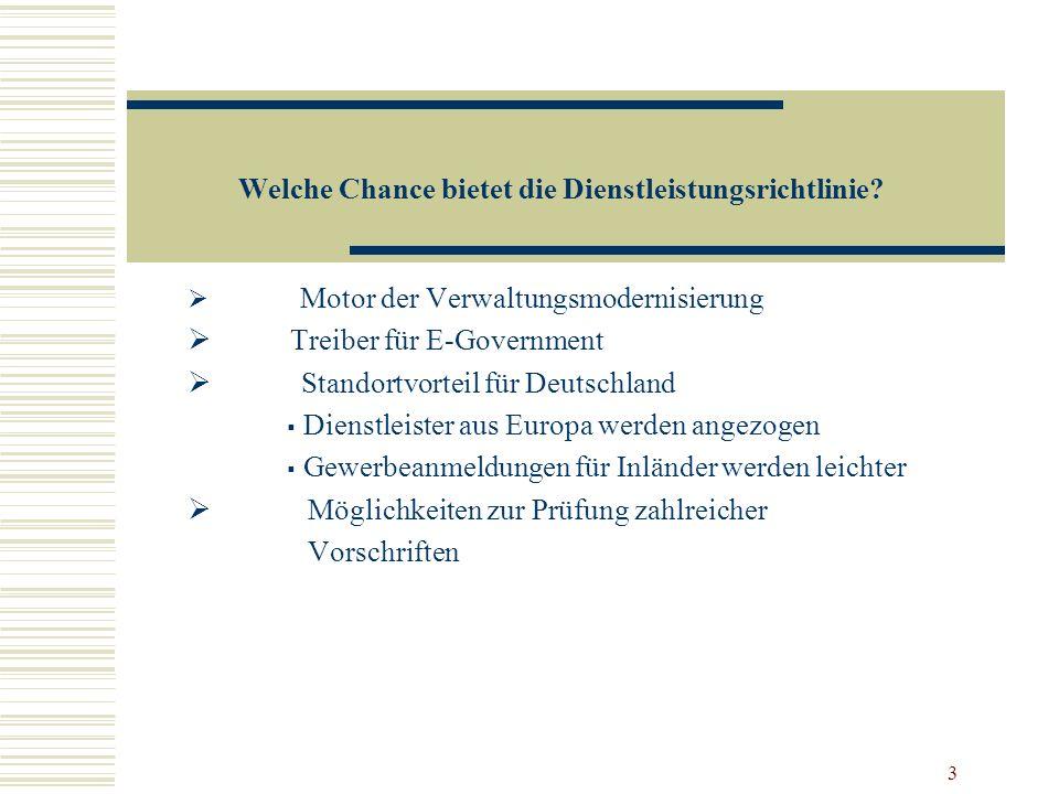 Welche Chance bietet die Dienstleistungsrichtlinie
