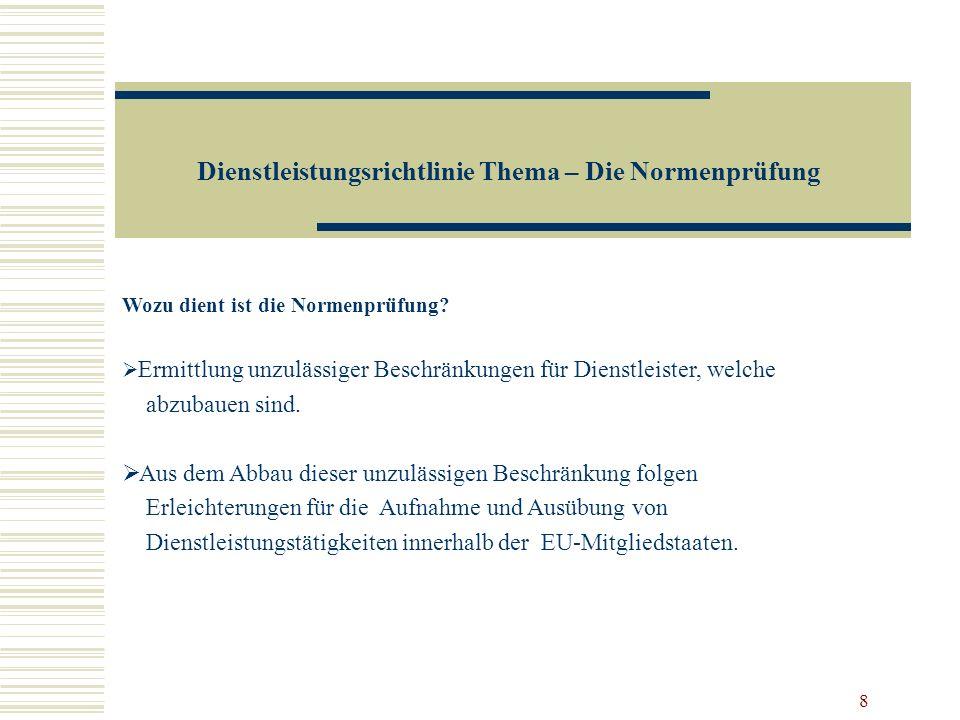 Dienstleistungsrichtlinie Thema – Die Normenprüfung