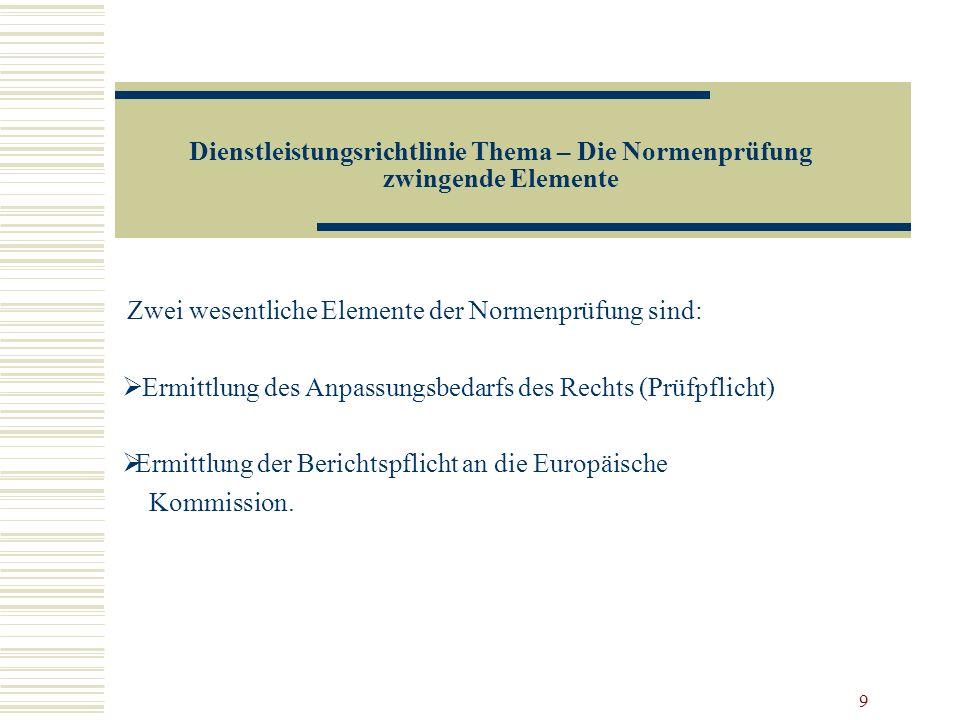 Dienstleistungsrichtlinie Thema – Die Normenprüfung zwingende Elemente