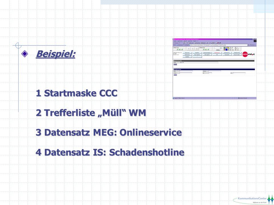 """Beispiel: 1 Startmaske CCC 2 Trefferliste """"Müll WM 3 Datensatz MEG: Onlineservice 4 Datensatz IS: Schadenshotline"""