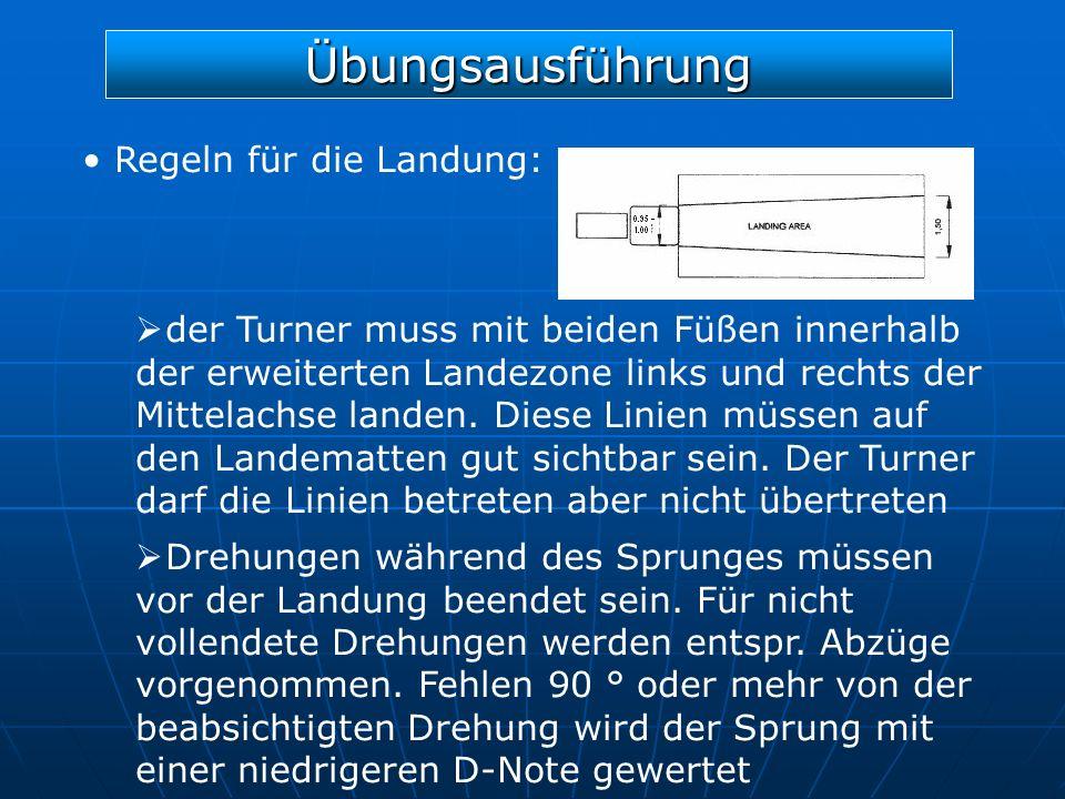 Übungsausführung Regeln für die Landung: