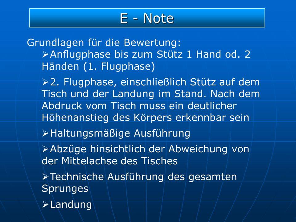 E - Note Grundlagen für die Bewertung: