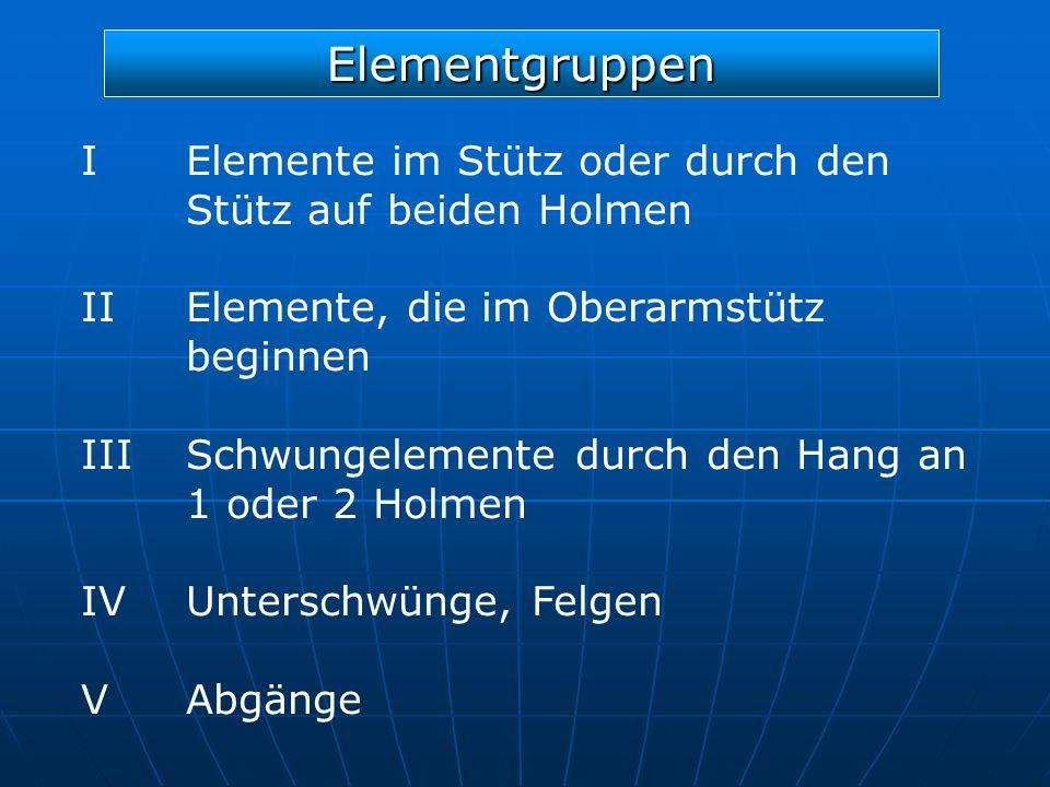 Elementgruppen I Elemente im Stütz oder durch den Stütz auf beiden Holmen. II Elemente, die im Oberarmstütz beginnen.