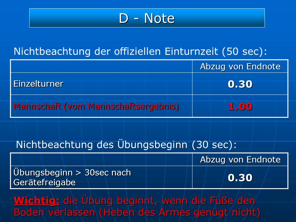 D - Note 0.30 Nichtbeachtung der offiziellen Einturnzeit (50 sec):