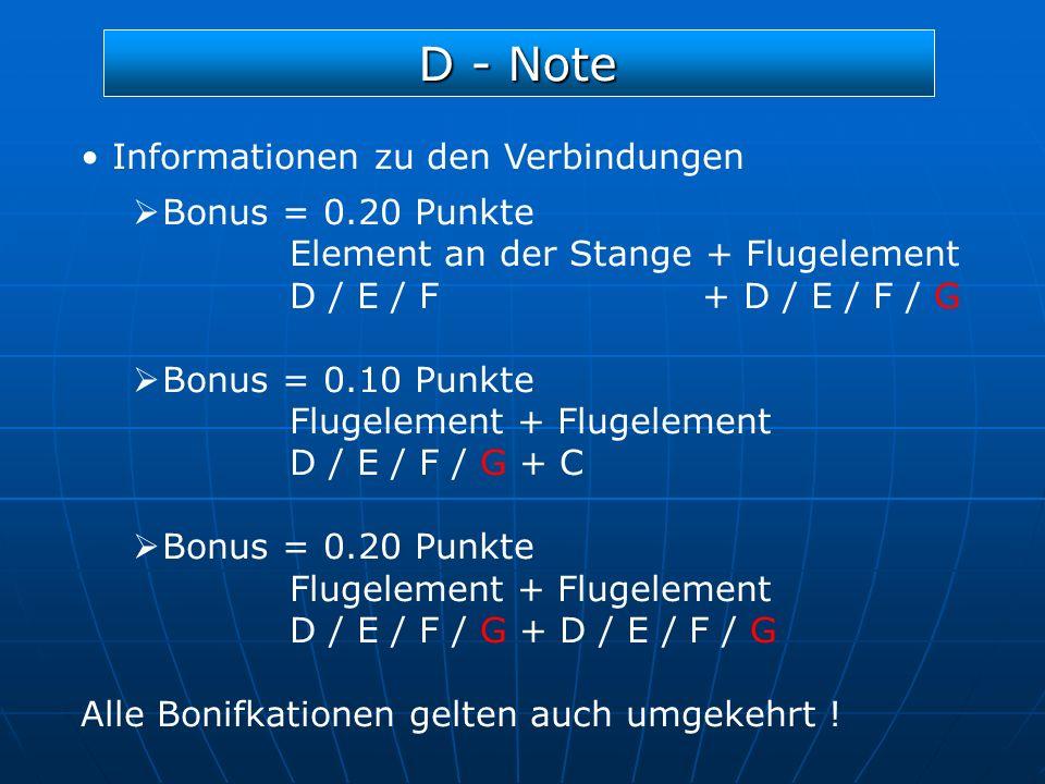 D - Note Informationen zu den Verbindungen Bonus = 0.20 Punkte
