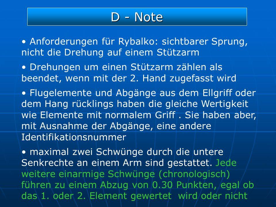 D - Note Anforderungen für Rybalko: sichtbarer Sprung, nicht die Drehung auf einem Stützarm.