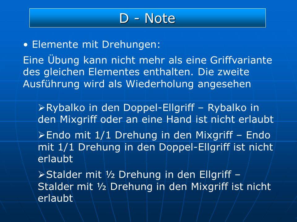 D - Note Elemente mit Drehungen:
