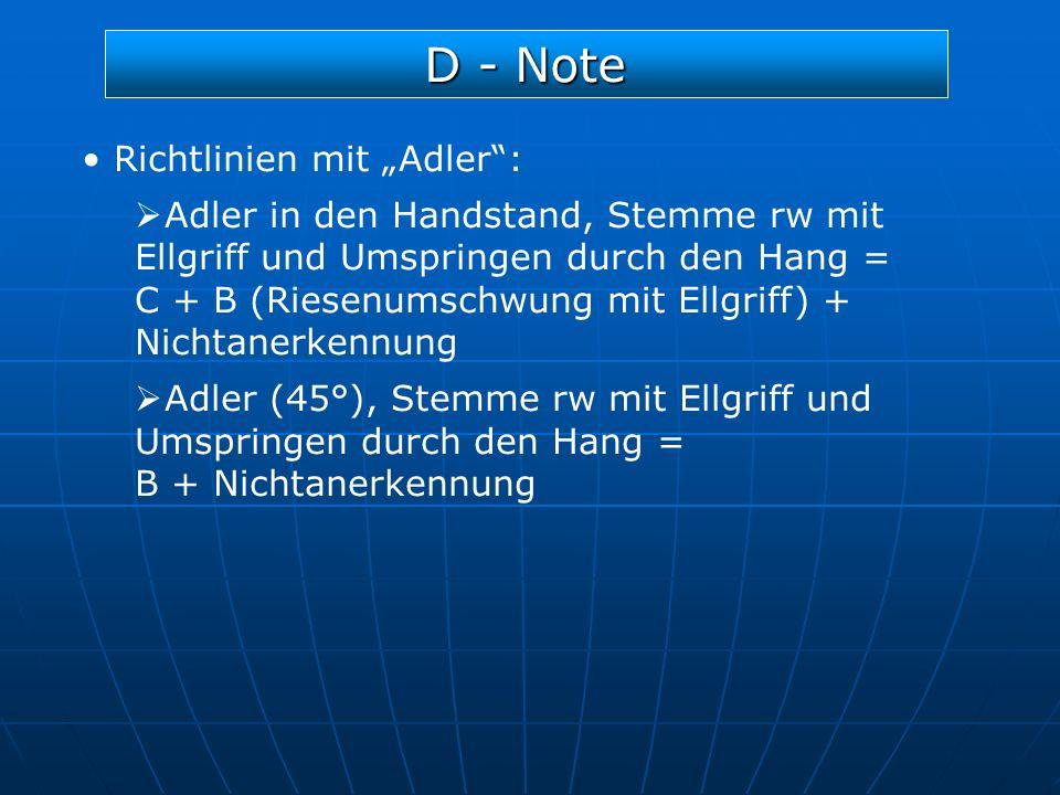"""D - Note Richtlinien mit """"Adler :"""