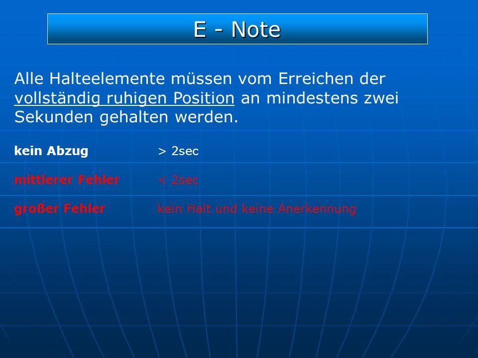 E - Note Alle Halteelemente müssen vom Erreichen der vollständig ruhigen Position an mindestens zwei Sekunden gehalten werden.