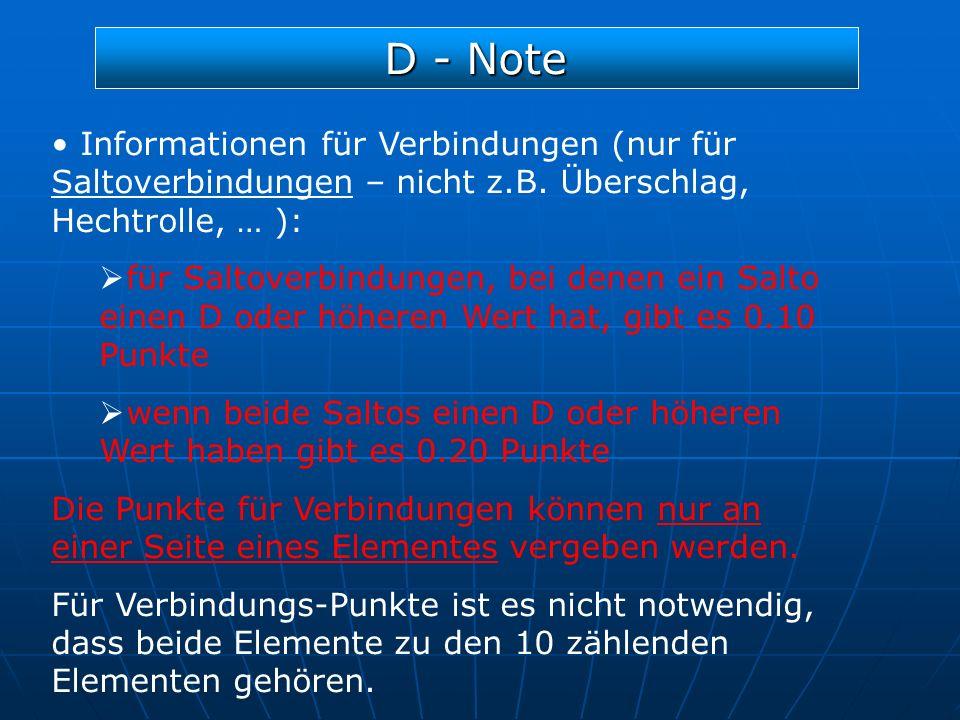 D - Note Informationen für Verbindungen (nur für Saltoverbindungen – nicht z.B. Überschlag, Hechtrolle, … ):