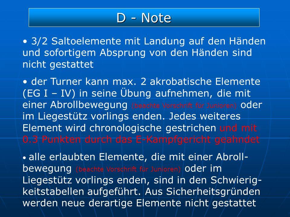 D - Note 3/2 Saltoelemente mit Landung auf den Händen und sofortigem Absprung von den Händen sind nicht gestattet.