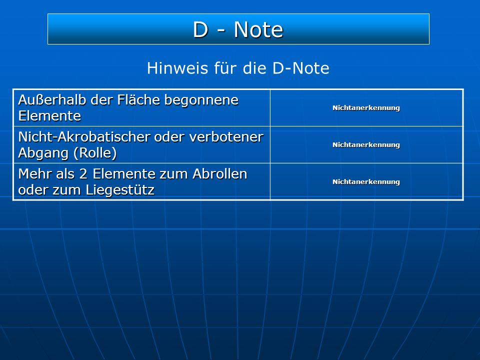 D - Note Hinweis für die D-Note