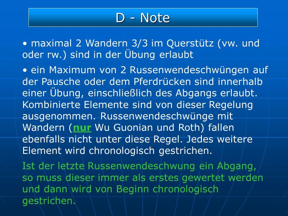 D - Note maximal 2 Wandern 3/3 im Querstütz (vw. und oder rw.) sind in der Übung erlaubt.