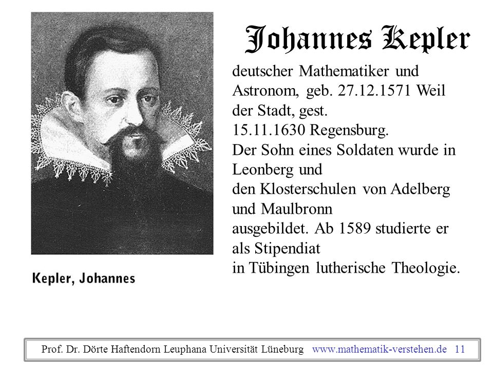 Johannes Kepler deutscher Mathematiker und