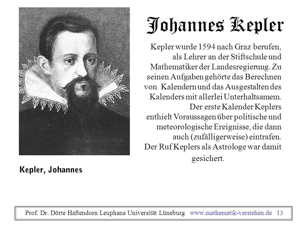Johannes Kepler Kepler wurde 1594 nach Graz berufen, als Lehrer an der Stiftschule und Mathematiker der Landesregierung. Zu.