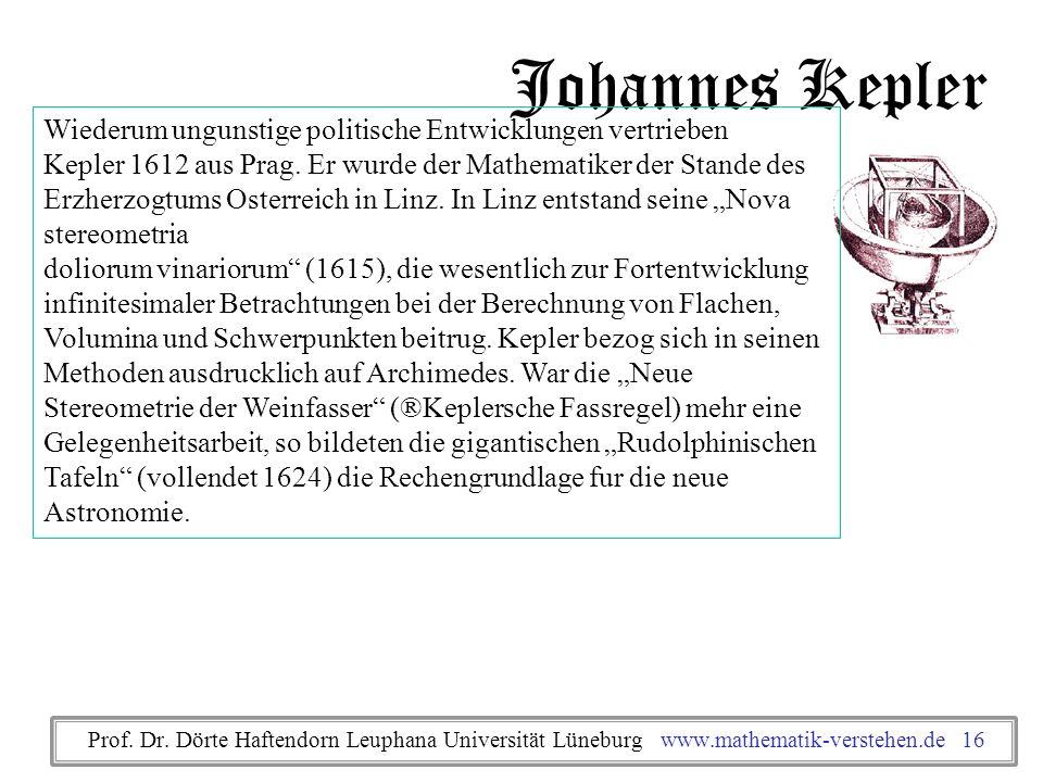 Johannes Kepler Wiederum ungunstige politische Entwicklungen vertrieben. Kepler 1612 aus Prag. Er wurde der Mathematiker der Stande des.
