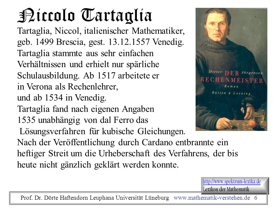 Niccolo Tartaglia Tartaglia, Niccol, italienischer Mathematiker,