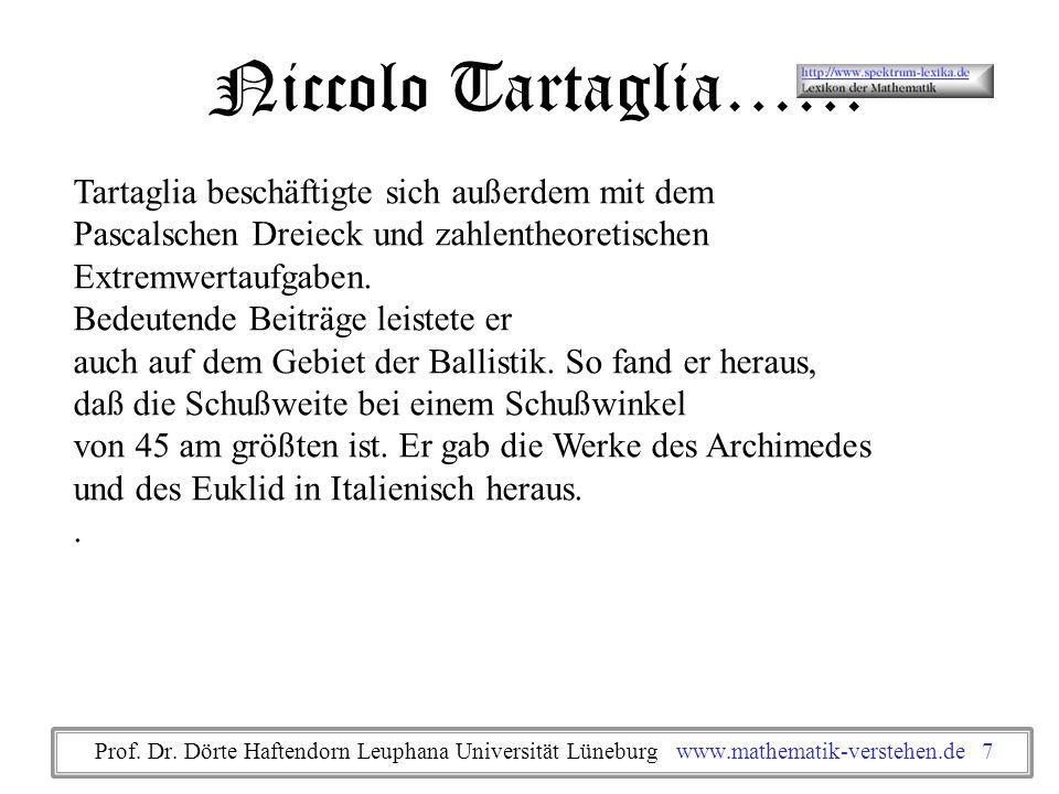 Niccolo Tartaglia…… Tartaglia beschäftigte sich außerdem mit dem