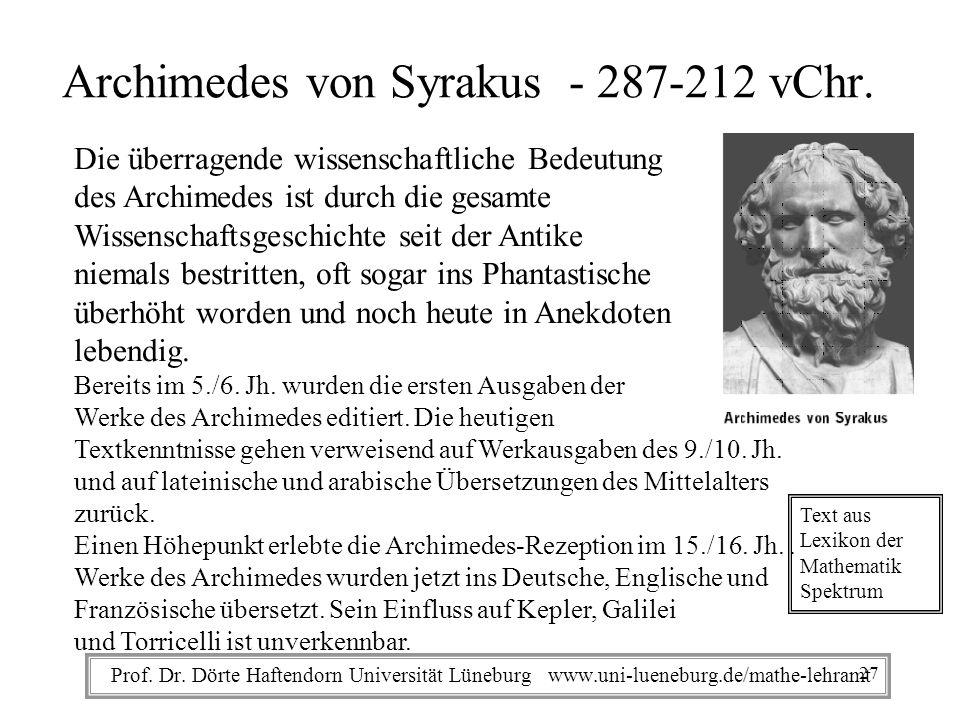 Archimedes von Syrakus - 287-212 vChr.