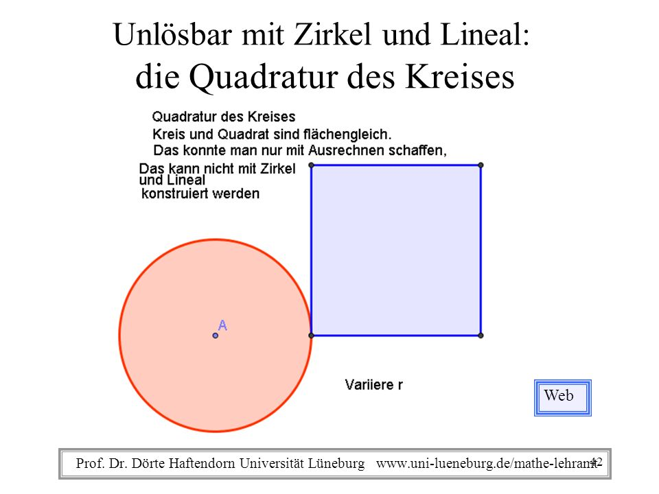Unlösbar mit Zirkel und Lineal: die Quadratur des Kreises