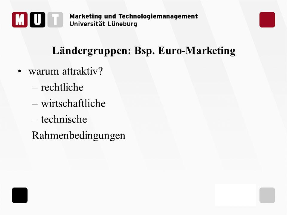 Ländergruppen: Bsp. Euro-Marketing