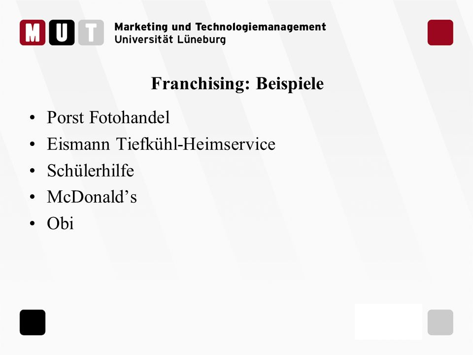 Franchising: Beispiele